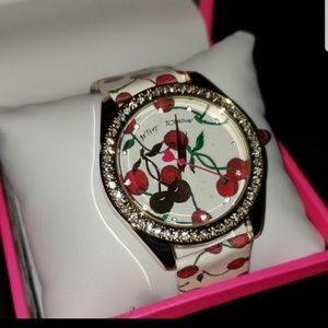 Betsey Johnson cherries jubilee white multi watch